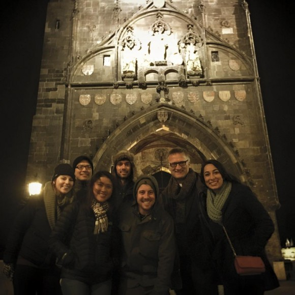 group of MBA Prague students in old building