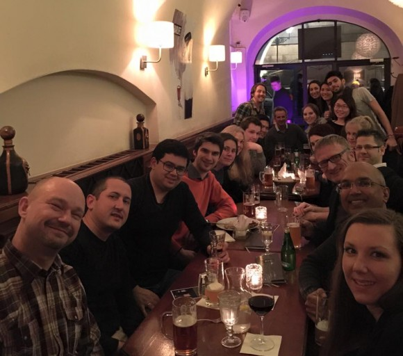 group of MBA Prague students eating