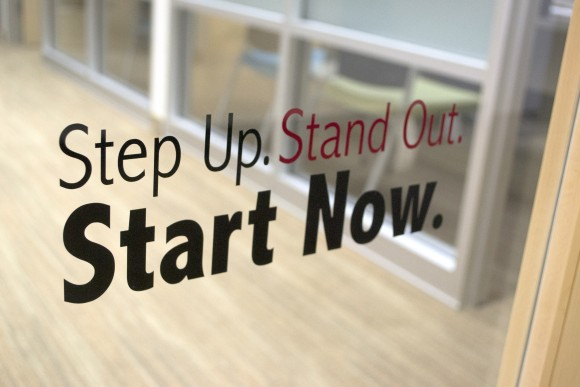 Argyros Career Services tagline: Step up. Stand Out. Start Now.