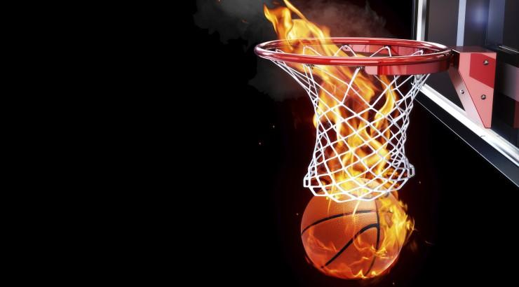 flaming basketball in basket