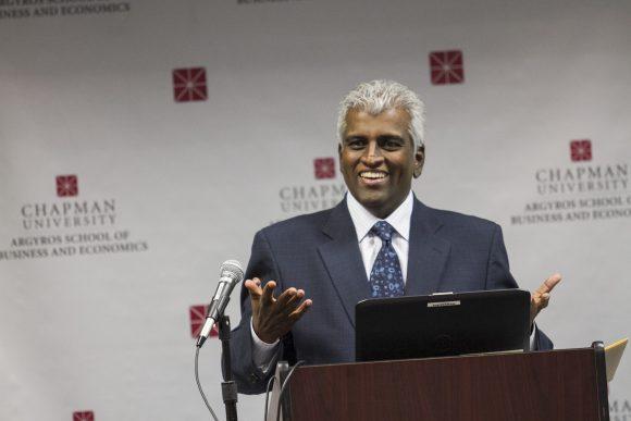Business man Anaand Nallathambi giving presentation
