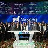 2020 Walk Down Wall Street group at the NASDAQ desk