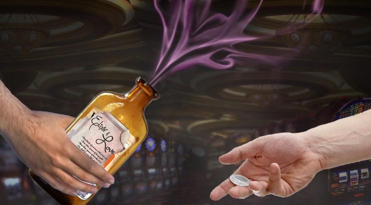Artwork depicting an exchange of Elixir of Love and money.