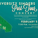 Flyer for University Singers Post Tour Concert.