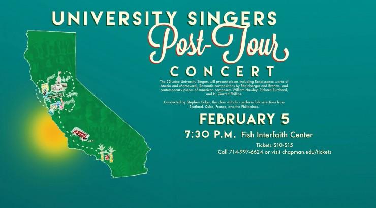 Flyer for University Singers Post Tour Concert.