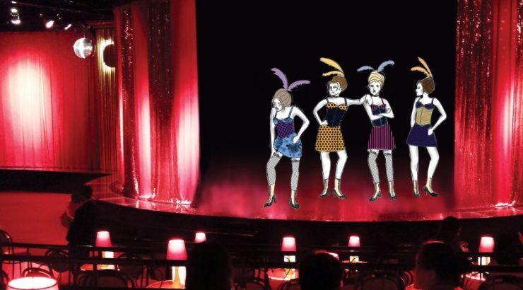 Cabaret stage with dancers