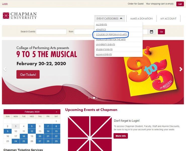 screen shot of ticketing site