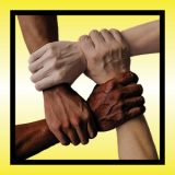 Square yellow background with black inset outline and four male forearms in varying skin tones grasping adjacent wrists to form a square.