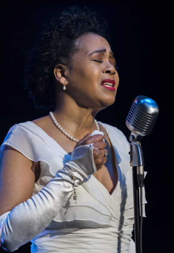 Karole Foreman in costume as Billie Holiday