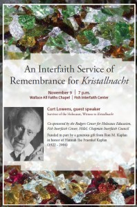 Poster for An Interfaith Service of Remembrance for Kristallnacht