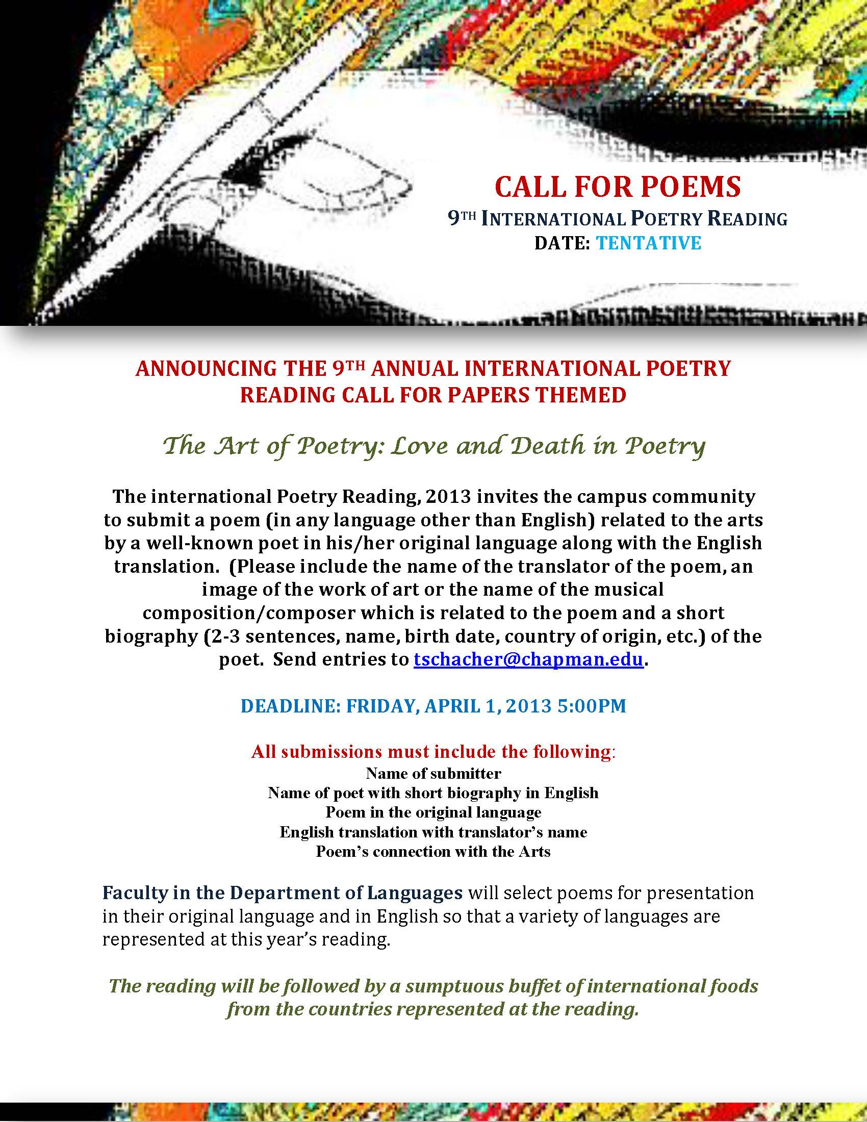 Announcing the 9th Annual International Poetry Reading call for