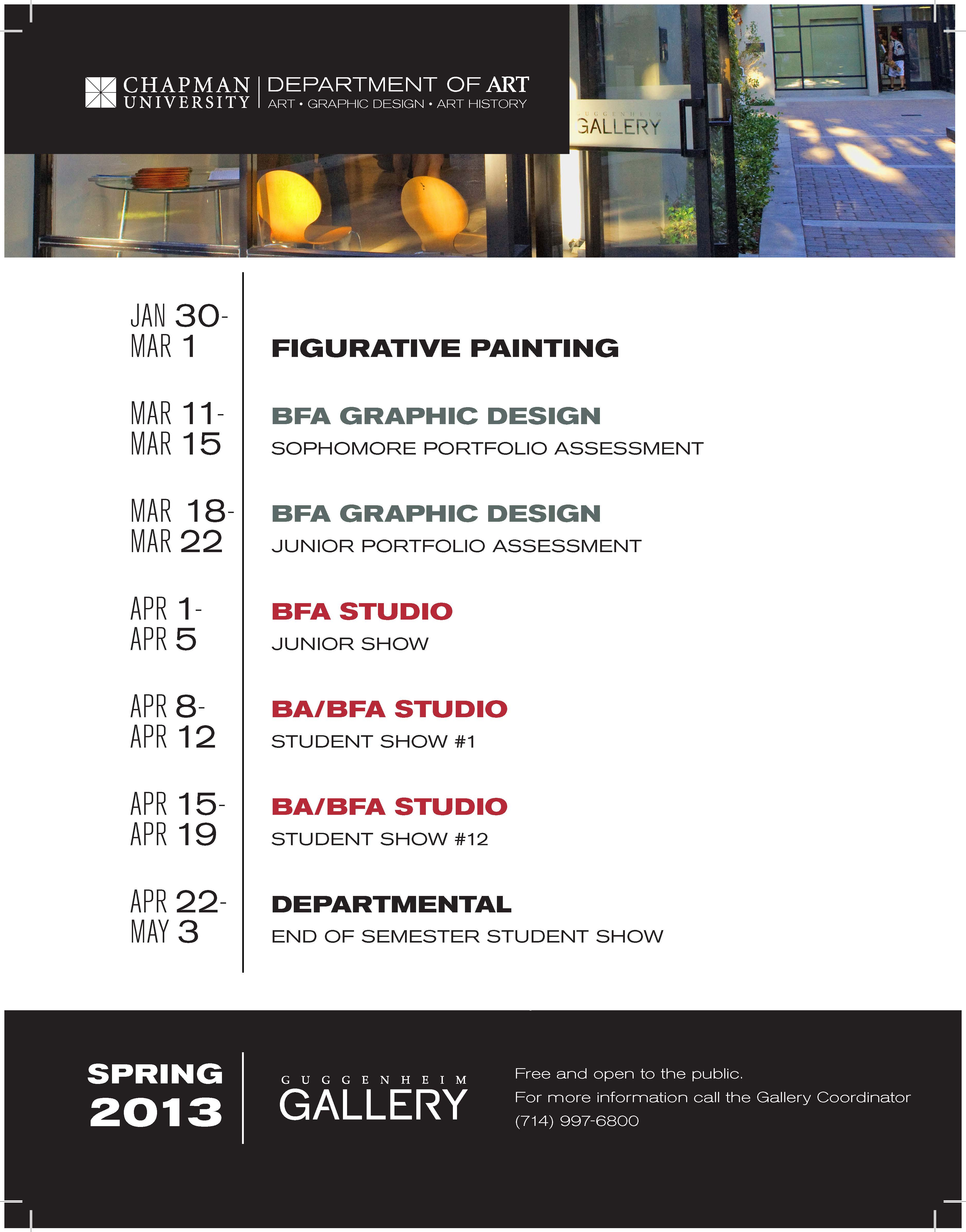 Poster of Spring 2013 Gallery Schedule