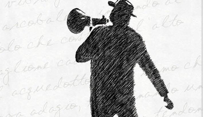 Drawing of person with megaphone.