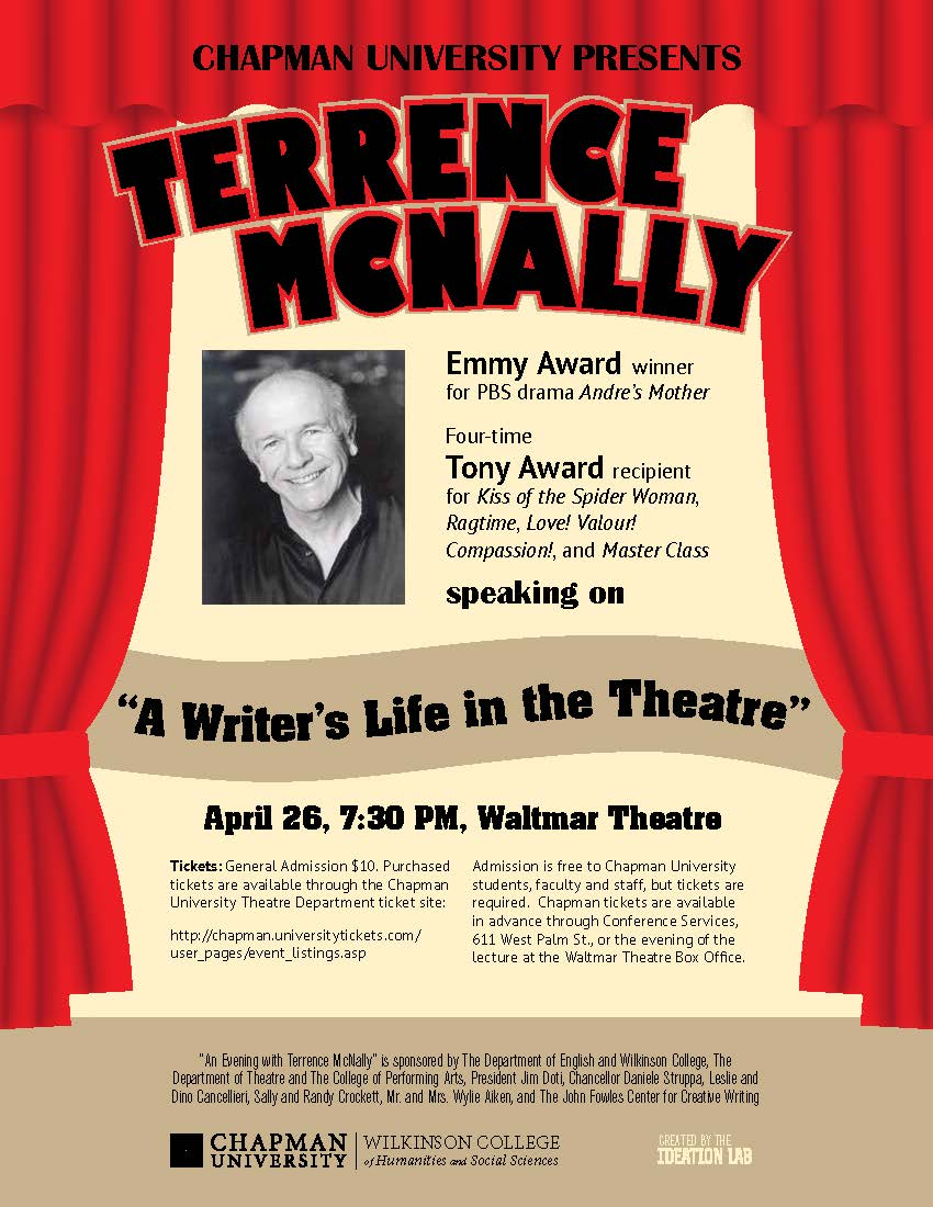 Flyer for Terrence McNally