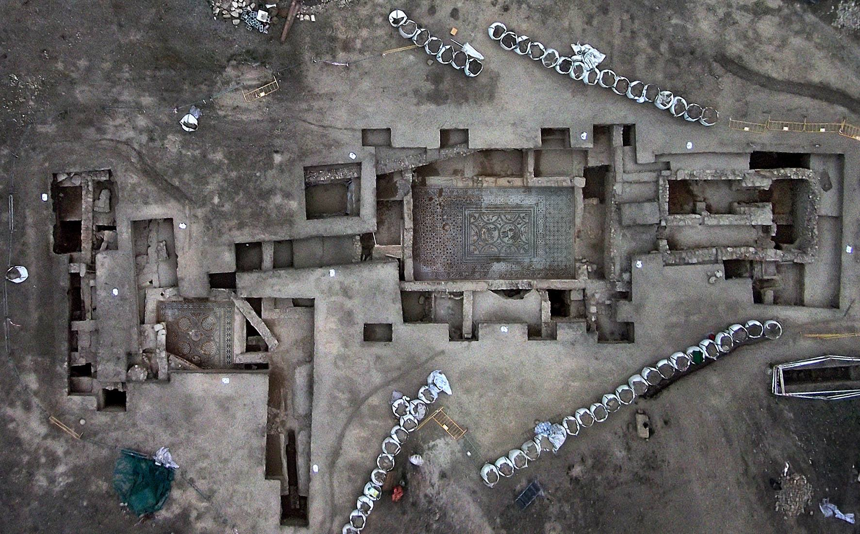 Aerial view of the Roman buildings
