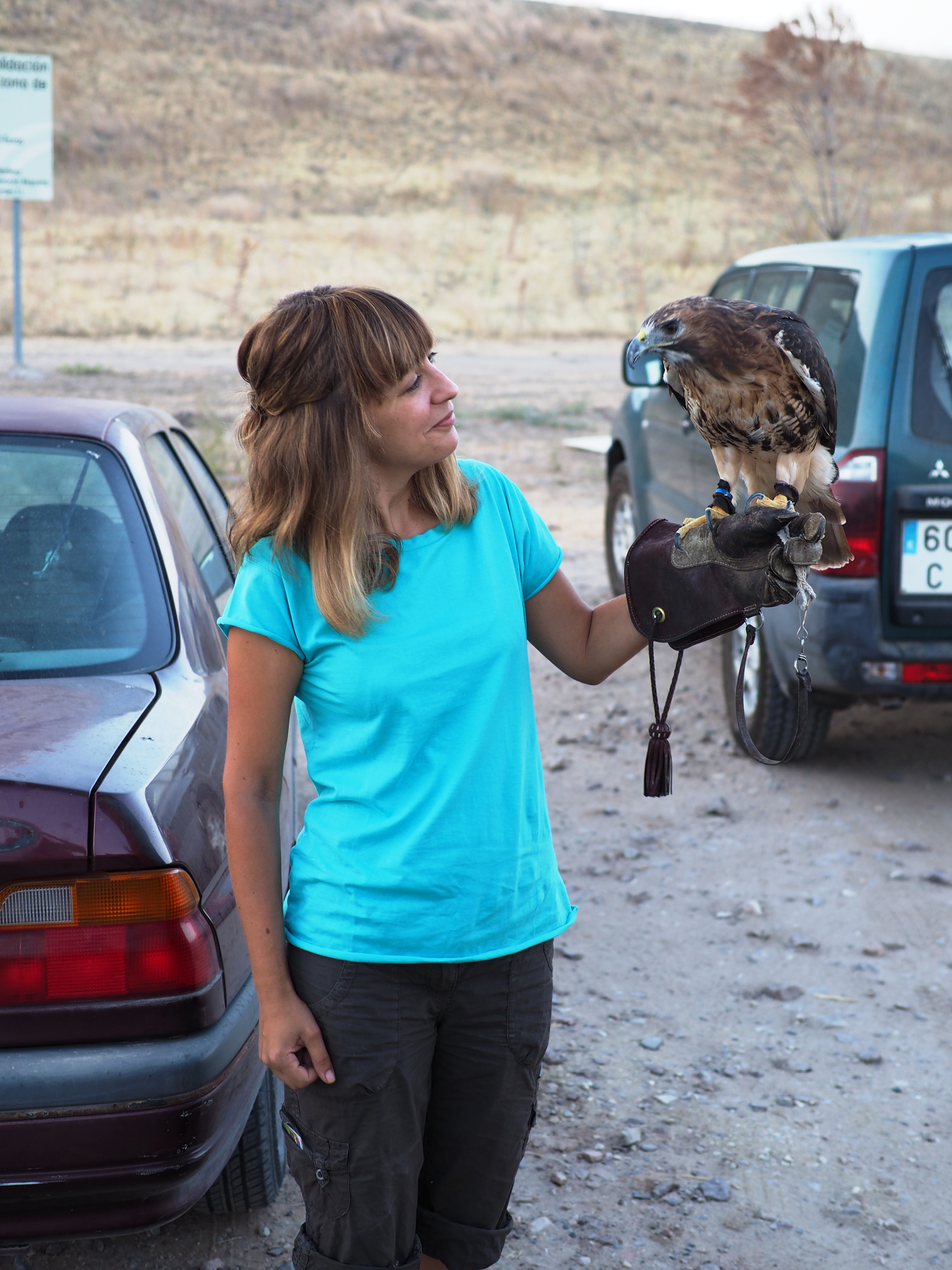 Woman with bird of prey.