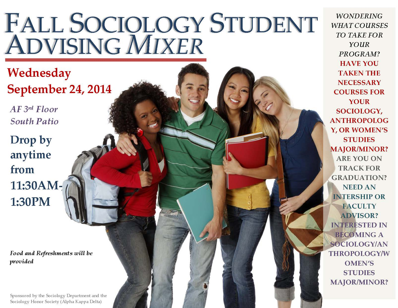 Flyer for Fall Sociology Student Advising Mixer.