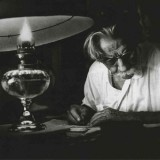 Albert Schweitzer writing.