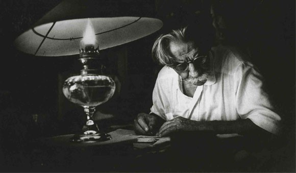 Albert Schweitzer writing.