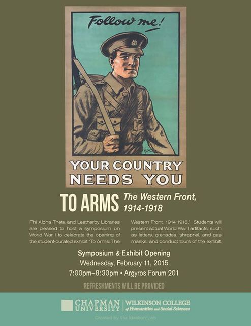 Flyer for To Arms Symposium and Exhibit