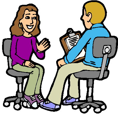 Clip art of an interview.