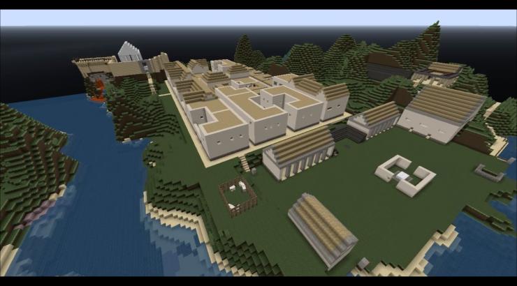 Minecraft city.