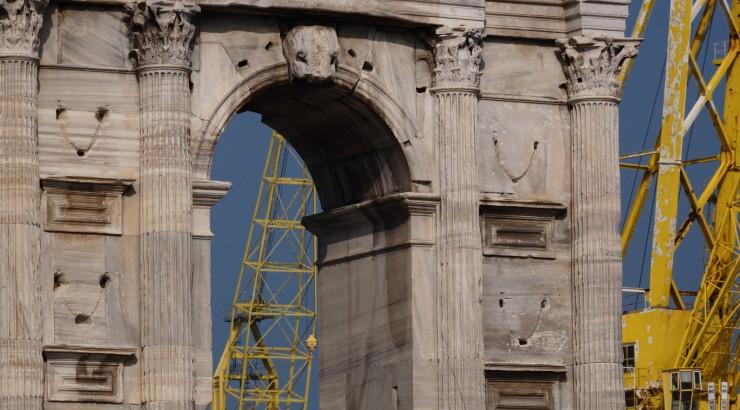 Italian buildings under construction.