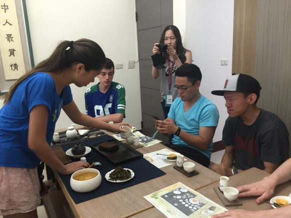 Student learning about Taiwanese tea culture.