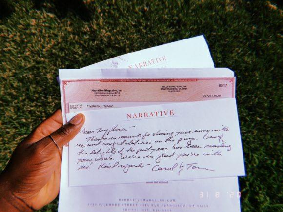 Narrative Magazine letter.