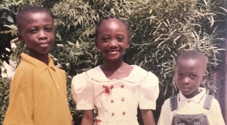 Tryphena Yeboah, and her brothers, as a young children in Mampong, Ghana.