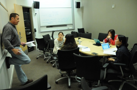 image of Korean Exchange students discussing screenwriting