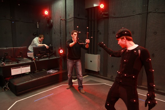Our older motion capture suits required actors and directors to work in one isolated room, in a full-body suit.