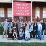 Digital Arts students posing outside of The Walt Disney Family Museum