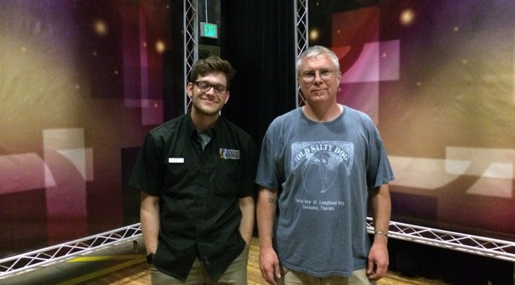 Stage manager Pete Vander Pluym and student employee on the Television Stage at Dodge College