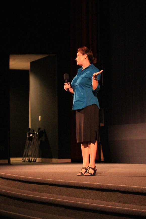 Elaina Archer, from the Mary Pickford Foundation, talking to students at last year's screening in the Folino Theater.