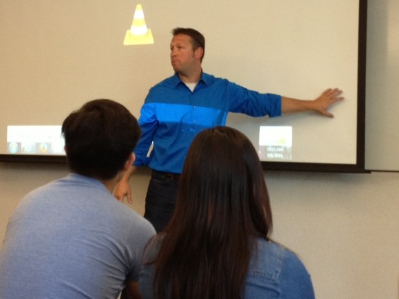 Joe Little, from ABC 10 in San Diego, presents to the students.