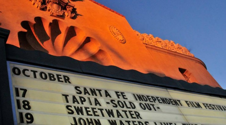 The marquee at the Santa Fe Independent Film Festival