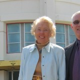 Image of building founder Marion Knott and Dean Bob Bassett in front of Marion Knott Studios during the building phase.