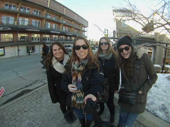 Students pose for a shot in Park City at the 2015 Sundance Film Festival.