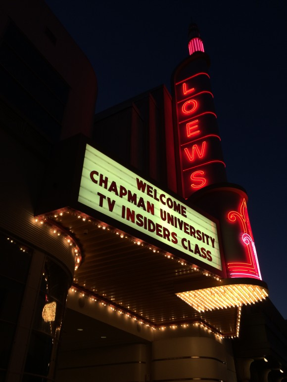 Image of the Loews Theater Marquee on the Sony lot, welcoming Chapman University TV Insiders Class
