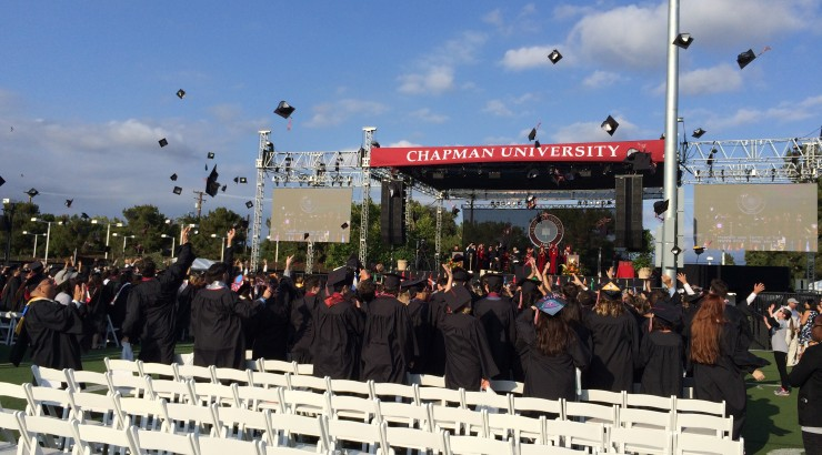 commencement hats being thrown