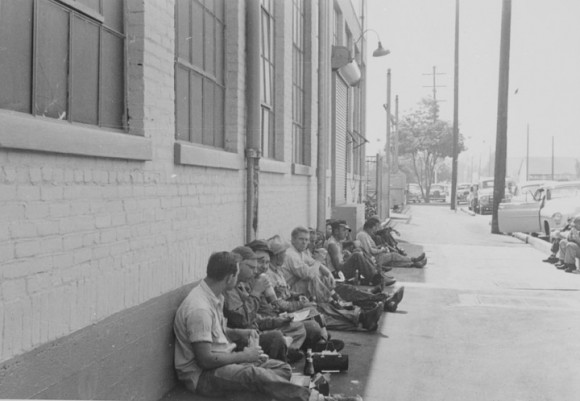 mployees on a lunch break outside the Anaconda Wire and Cable Company building