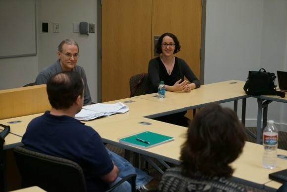 rebecca kirsh talking to students