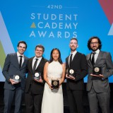 The Academy of Motion Picture Arts and Sciences presented its 42nd Annual Student Academy Awards® on Thursday, September 17, in Beverly Hills. Gold Medal winners (left to right): Alternative film winner Daniel Drummond, Documentary film winner Alexandre Peralta, Animated film winner Alyce Tzue, Narrative film winner Henry Hughes and Foreign film winner Ilker Catak.