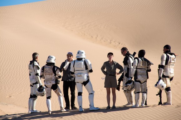 1st AD Trevor Stevens and Producer Westin Ray swap Star Wars jokes with Sandtroopers between takes.