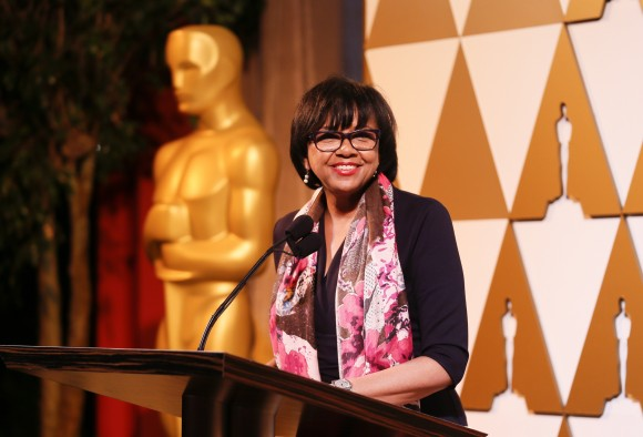 Academy of Motion Picture Arts and Sciences president Cheryl Boone Isaacs speaks at the 86th Academy Awards Foreign Language Nominee Reception at Ray's and Stark Bar on the LACMA Campus in Los Angeles, February 28, 2014. REUTERS/Danny Moloshok (UNITED STATES - Tags: ENTERTAINMENT) - RTR3FUM7