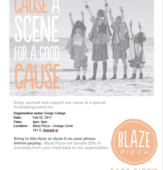 blaze pizza flier for when wigs fly