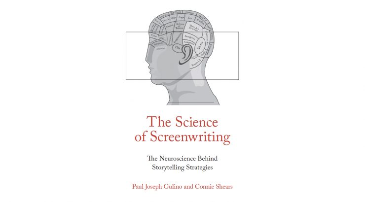 Cover image of The Science of Screenwriting - figure drawing of human head with brain functions labeled
