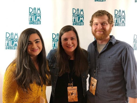 Chapman Filmmakers at Dam Short Film Festival in front of step and repeat