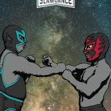 Two luchador characters in fighting pose